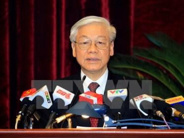 Tổng Bí thư Nguyễn Phú Trọng phát biểu bế mạc Hội nghị. (Ảnh: Thống Nhất/TTXVN)