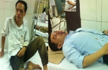 Hai LS Trần Thu Nam và Lê Văn Luân bị côn an tấn công. Nguồn: FB Lê Văn Luân