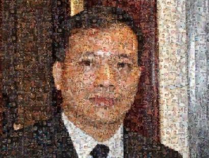 Ảnh Ls Nguyễn văn Đài được ghép từ 600 tấm hình bàn tay nhân quyền