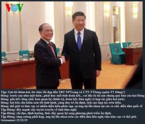 Tập Cận Bình đón tiếp Nguyễn Sinh Hùng. Nguồn: internet
