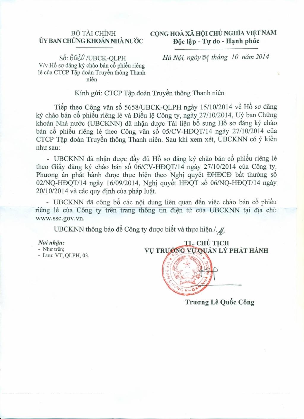 Thông báo phát hành cổ phiếu TNCorp ra công chúng của UBCKNN(!?)