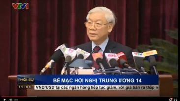 TBT Nguyễn Phú Trọng phát biểu tại buổi lễ bế mạc HNTW 14. Ảnh chụp từ VTV.