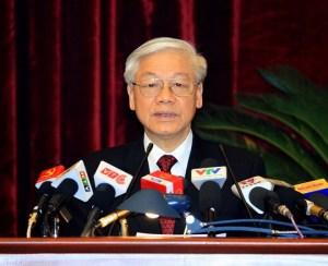Ông Nguyễn Phú Trọng phát biểu bế mạc HNTW 14. Ảnh: TTXVN