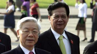 Ông Nguyễn Phú Trọng và ông Nguyễn Tấn Dũng được coi là hai ứng viên hàng đầu cho vị trí Tổng bí thư Đảng Cộng sản Việt Nam. Photo: AP