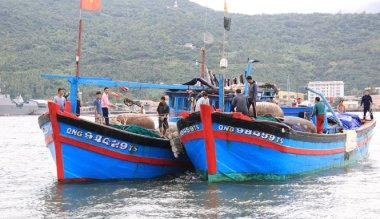 Tàu QNg 98459 của ông Huỳnh Văn Thạch cùng 10 ngư dân được tàu cá QNg 94429 lai dắt về tới đồn biên phòng Mân Quang, Đà Nẵng - Ảnh: Trường Trung.