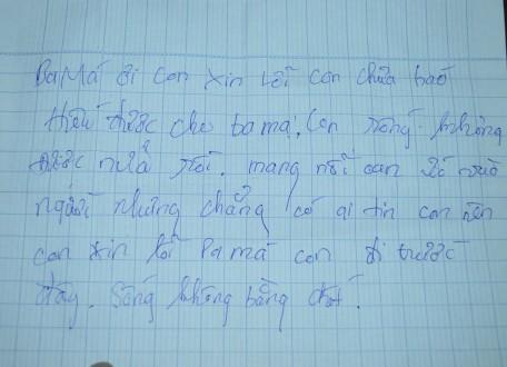 Lá thư tuyệt mệnh em Tâm để lại sau khi uống thuốc diệt cỏ. Ảnh: báo Thanh Niên.