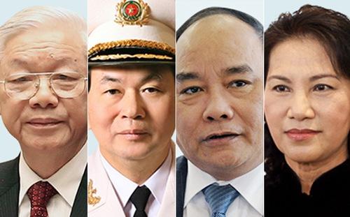 Từ trái sang: ông Nguyễn Phú Trọng, ông Trần Đại Quang, ông Nguyễn Xuân Phúc và bà Nguyễn Thị Kim Ngân. Ảnh: VnEconomy.