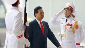Thủ tướng Nguyễn Tấn Dũng đến dự lễ khai mạc Đại hội Đảng 12 tại Hà Nội, ngày 21/1/2016.