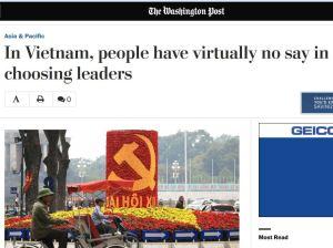 Báo The Washington Post của Mỹ đưa tin về Đại hội XII: dân Việt không được quyền bầu chọn lãnh đạo (screenshot từ washingtonpost.com)