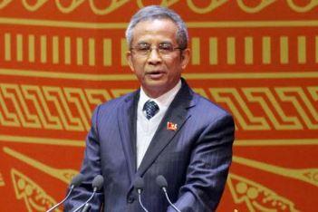 Chủ tịch Liên đoàn Lao động VN Đặng Ngọc Tùng đã có bài phát biểu tham luận rất thẳng và được nhiều người ủng hộ . Ảnh: Phạm Hải