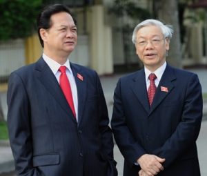 Nguyễn Tấn Dũng và Nguyễn Phú Trọng: Photo: HOANG DINH NAM/AFP/Getty