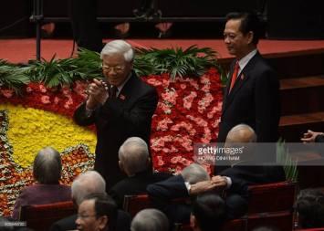 Hình ông Trọng tại Đại hội 12. Credit: Hoang Dinh Nam.