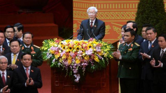Ông Nguyễn Phú Trọng tái đắc cử chức Tổng bí thư Đảng CSVN ở Đại hội 12. Photo: AP