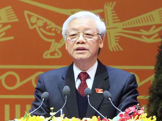 Ông Nguyễn Phú Trọng phát biểu bế mạc Đại hội XII. Ảnh: TTXVN