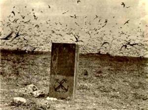 Ảnh chụp một trong những tấm bia chủ quyền trên quần đảo Hoàng Sa năm 1930. Nguồn: internet