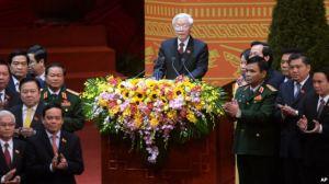 Tổng bí thư Đảng Cộng sản Việt Nam Nguyễn Phú Trọng phát biểu trong buổi lễ bế mạc Đại hội đảng toàn quốc lần thứ 12 tại Hà Nội, ngày 28/1/2016. Ảnh: AP