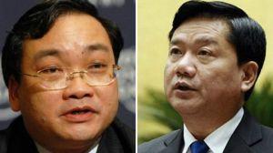 Ông Hoàng Trung Hải (trái) và ông Đinh La Thăng hôm 5/2/2016 được bổ nhiệm làm Bí thư Thành ủy hai thành phố quan trọng nhất nước. Photo: Getty.