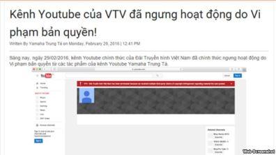 Thông báo trang Yamaha Trung Tá của ông Bùi Minh Tuấn đăng tải về vụ VTV bị khóa kênh YouTube. Thông báo trang Yamaha Trung Tá của ông Bùi Minh Tuấn đăng tải về vụ VTV bị khóa kênh YouTube. Screen shot