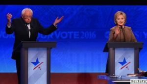 Hai ứng viên Bernie Sanders và Hillary Clinton đang tranh luận trên truyền hình. Nguồn: internet