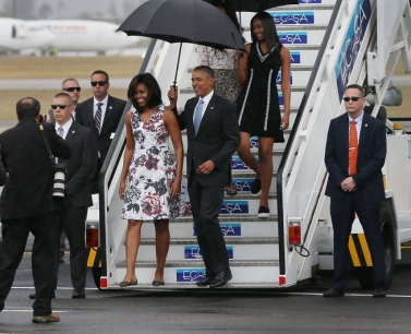 Jose Marti International Airport for a 48-hour visit on Airforce One March 20, 2016 in Havana, Cuba. Obama is the first President in nearly 90 years to visit Cuba, the last one being Calvin Coolidge.  (Photo by Joe Raedle/Getty Images)