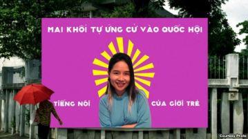 Poster quảng bá cho chiến dịch tự ứng cửa Đại Biểu Quốc Hội của Mai Khôi. (ảnh do Mai Khôi cung cấp). Photo courtesy