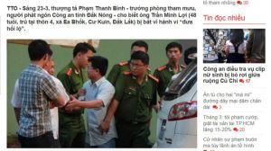 Báo trong nước đưa tin ông Trần Minh Lợi bị bắt 'vì hành vi đưa hối lộ'. Ảnh chụp màn hình báo TT của BBC.