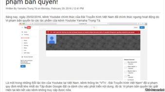 Thông báo của trang Yamaha Trung Tá đăng tải về vụ VTV bị khóa kênh YouTube. Ảnh chụp màn hình.