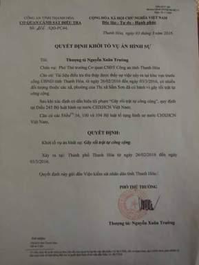 Quyết định khởi tố hình sự của Công an Thanh Hóa. Nguồn ảnh: FB Sầm Sơn - Vẻ đẹp bất tận.