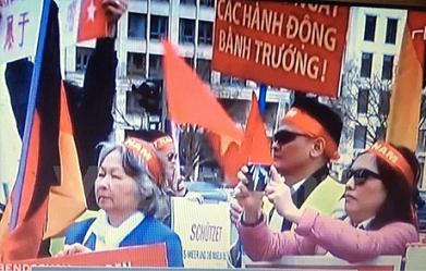 Kiều bào ở Đức biểu tình phản đối Trung Quốc. Ảnh: DT