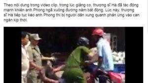 """Báo trong nước mô tả """"thượng sĩ Hà đã tác động mạnh khiến anh Phong ngã xuống đường nằm bất động"""""""