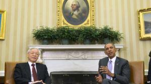 Tổng thống Mỹ Barack Obama tiếp Tổng Bí thư Nguyễn Phú Trọng tại Phòng Bầu dục Nhà Trắng, ngày 7/7/2015. Ảnh: AP