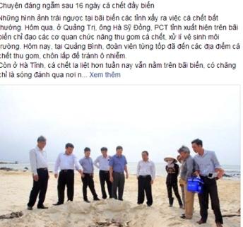 """Dòng trạng thái bức xúc về sự """"tàng hình"""" của lãnh đạo Hà Tĩnh trong vụ cá chết thu hút sự quan tâm rất lớn của dư luận."""
