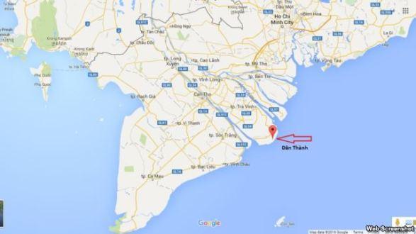 Vị trí xã Dân Thành, nơi đặt Trung tâm Nhiệt điện Duyên Hải, trên bản đồ. Ảnh chụp màn hình. Web screenshot