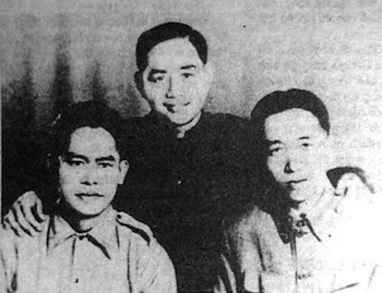 năm 1955 tại Hà Nội. Từ trái sang phải : Huỳnh Văn Tiểng, Lưu Hữu Phước, Mai Văn Bộ. Nguồn: Trần Văn Giàu