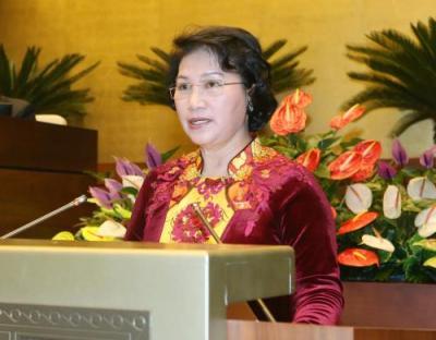 Tân Chủ tịch Quốc hội Nguyễn Thị Kim Ngân phát biểu nhậm chức. Ảnh: Nhan Sáng-TTXVN