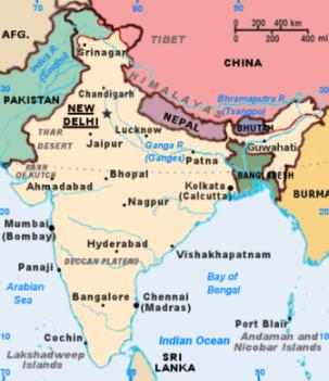 Bản đồ Ấn Độ. Nguồn: Sở Ngoại vụ TPHCM