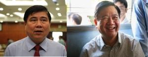 Chủ tịch UBND TPHCM Nguyễn Thành Phong (trái) và Bí thư Thành ủy Đinh La Thăng. Nguồn: internet