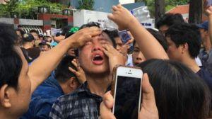 Một số người biểu tình cáo buộc họ bị tấn công bằng nhiều cách hôm 8/5. Nguồn: FB
