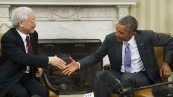 Tổng thống Barack Obama đón tiếp Tổng Bí thư Nguyễn Phú Trọng ở Nhà Trắng tháng Bảy 2015. Ảnh: AFP