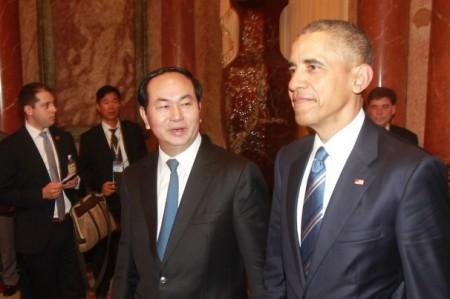 CTN Trần Đại Quang và TT Obama. Nguồn: internet