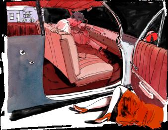 Ảnh vẽ vợ chồng nhà báo Lê Triết bị bắn chết trong xe. Nguồn: Frontline/ Propulica