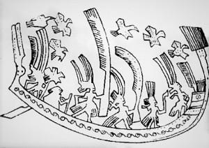 Thuyền hình cá sấu trên sân thạp đồng Đào Thịnh (Yên Bái). Ảnh: internet