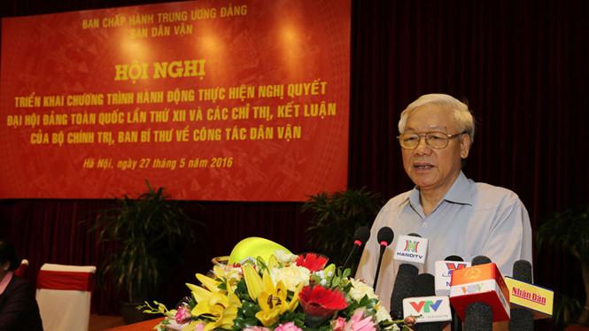 Tổng bí thư Nguyễn Phú Trọng phát biểu chỉ đạo hội nghị. Ảnh: TTXVN