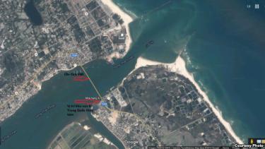 Khu vực đã bị Trung Quốc thâu tóm và các vị trí nhạy cảm về an ninh quốc phòng xung quanh. Courtesy Photo.