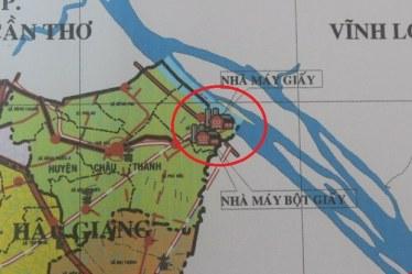 Bản đồ vị trí nhà máy giấy Lee & Man tại Hậu Giang. Courtesy of ndh.vn