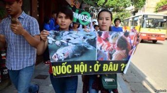 Cuộc tuần hành ở Hà Nội ngày 5/6/2016 chỉ diễn ra một thời gian ngắn đã bị giải tán. Ảnh: Facebook