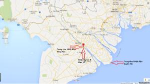 Vị trí 3 căn cứ quân sự trá hình của Trung Quốc trên bản đồ. Courtesy Photo