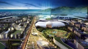 """Phối cảnh """"trung tâm hành chính"""" tỉnh Khánh Hòa, công trình sẽ ngốn 3,000 tỷ đồng, dẫn đầu về mức độ tốn kém. Hình: Báo VnExpress"""