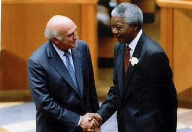 Nelson Mandela with F W De Klerk.