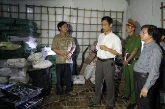 Lãnh đạo các ngành y tế, nông nghiệp ở Quảng Trị kiểm tra lô cá nục bị nhiễm phenol chiều 11-6 - Ảnh: Quốc Nam/ báo TT